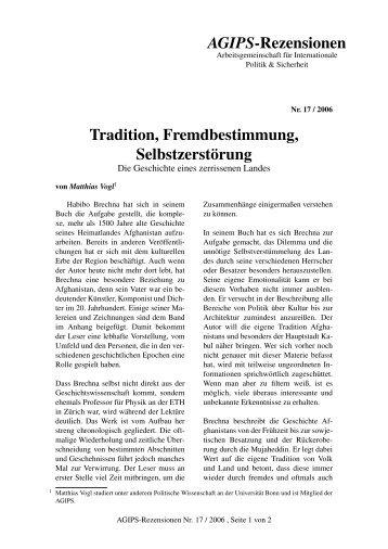 AGIPS-Rezensionen Tradition, Fremdbestimmung, Selbstzerstörung