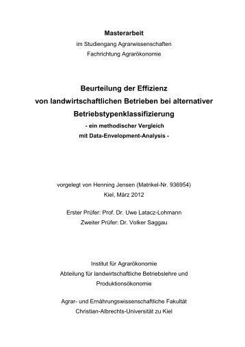 Beurteilung der Effizienz von landwirtschaftlichen Betrieben bei ...