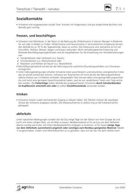 07 Datenblätter Schweine Tierschutz_Tierwohl.indd - agrigate.ch