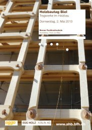 Programm Holzbautag 2013 - AHB - Berner Fachhochschule