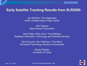 Early Satellite Tracking Results from SLR2000 - CDDIS - Nasa
