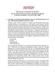 Erläuterungen zu den Rechten der Aktionäre nach Art. 56 ... - Aixtron