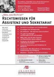 Rechtswissen für Assistenz und Sekretariat - AH Akademie für ...