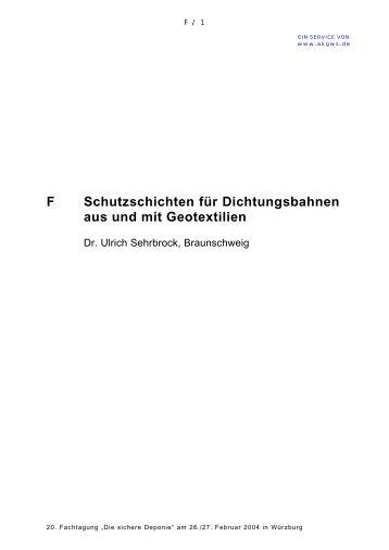Schutzschichten für Dichtungsbahnen aus und mit ... - AK GWS