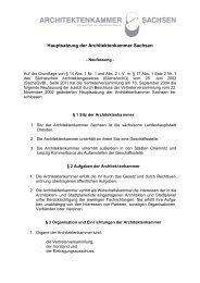 Hauptsatzung der Architektenkammer Sachsen