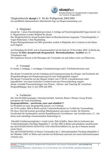 Tätigkeitsbericht Vorstand akzept e - akzept e.V.