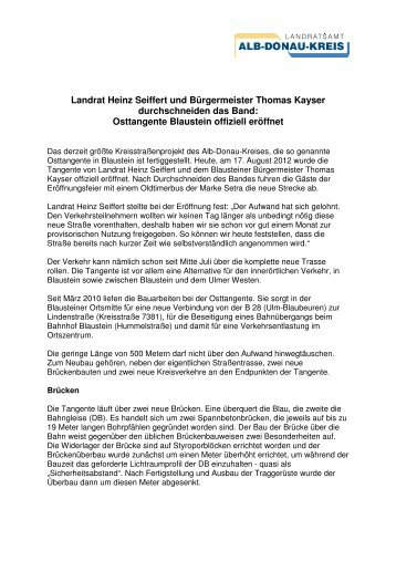 Osttangente Blaustein offiziell eröffnet - Alb-Donau-Kreis