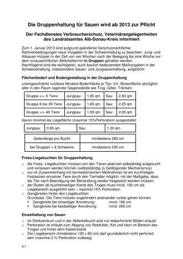 Gruppenhaltung für Sauen ab 2013 Pflicht - Alb-Donau-Kreis