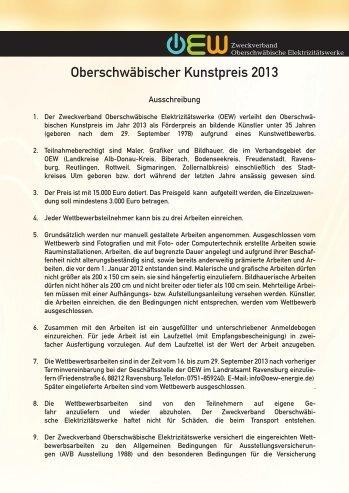 Ausschreibung Oberschwäbischer Kunstpreis 2013 - Alb-Donau-Kreis