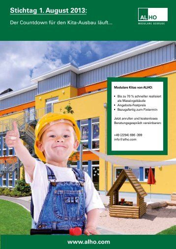 Stichtag 1. August 2013: - Alho Systembau GmbH