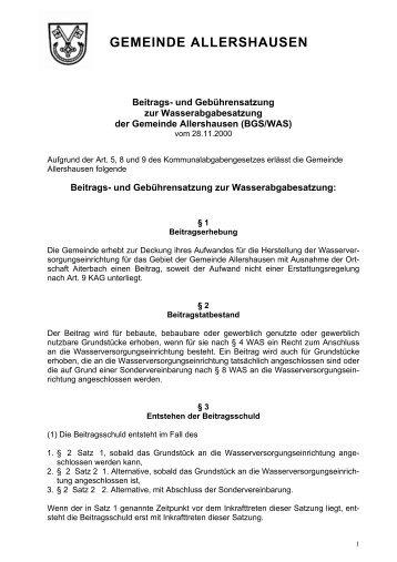 und Gebührensatzung zur Wasserabgabesatzung (BGS/WAS)
