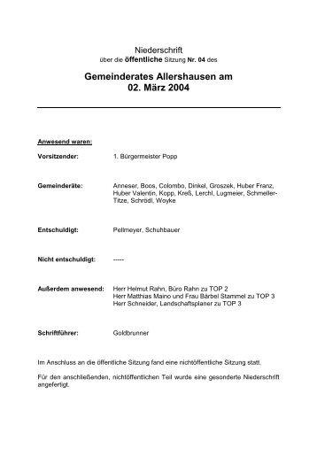Gemeinderates Allershausen am 02. März 2004