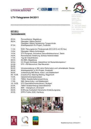 LTV-Telegramm 04/2011 - Tourismusverband Sachsen-Anhalt
