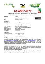 Ausschreibung - Programm - Alpenverein Südtirol