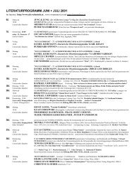 LITERATURPROGRAMM JUNI + JULI 2001 - Alte Schmiede