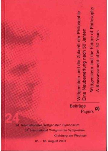 Witti-Buch2 2001.qxd - Austrian Ludwig Wittgenstein Society