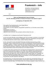 forderte in seiner Rede am 22. September - Französische Botschaft