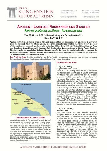 apulien –land der normannen und staufer - Internationale ...