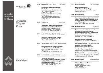 Preisträger 1992 - 2012 (PDF) - Annalise-Wagner-Stiftung
