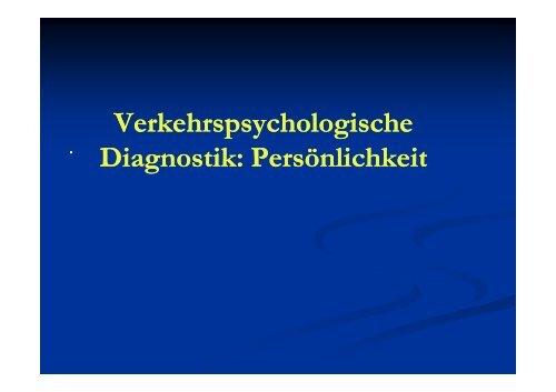 Verkehrspsychologische Diagnostik Persoenlichkeit