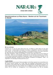 Urlaub aktiv erleben Reiseinformationen zur Reise Azoren ...