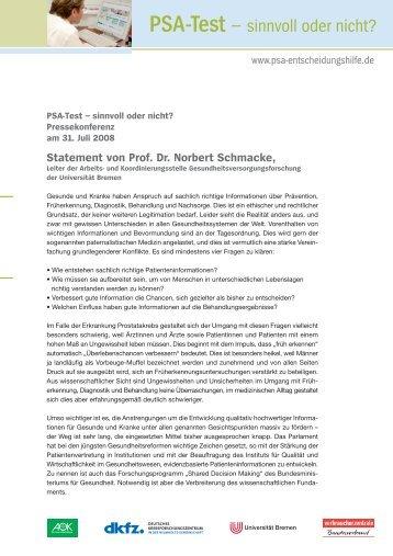 Statement von Prof. Dr. Norbert Schmacke