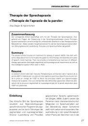 Therapie der Sprechapraxie «Thérapie de l'apraxie de la parole»
