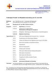 Protokoll der Mitgliederversammlung vom 25. Juni 2005 - APIS eV