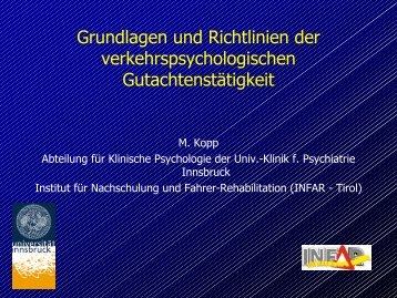 Grundlagen und Richtlinien der verkehrspsychologischen ...