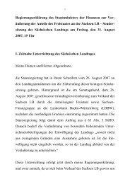 äußerung der Anteile des Freistaates an der Sachsen LB – Sonder