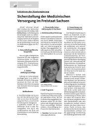 Sicherstellung der Medizinischen Versorgung im Freistaat Sachsen
