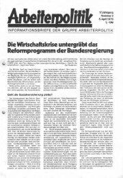 Reformprogramm der Bundesregierung - der Gruppe Arbeiterpolitik