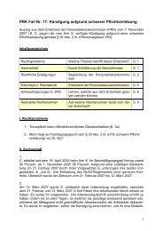 PRK Fall Nr. 77: Kündigung aufgrund schwerer Pflichtverletzung