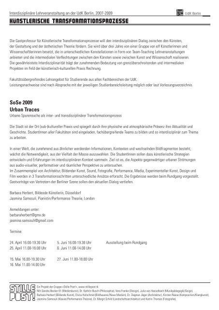 Vorlesungsverzeichnis Udk Berlin