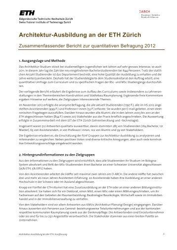 Zusammenfassender Bericht Architektur-Ausbildung an der ETH ...