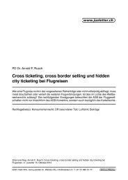 Cross ticketing, cross border selling und hidden city ... - Arnold Rusch