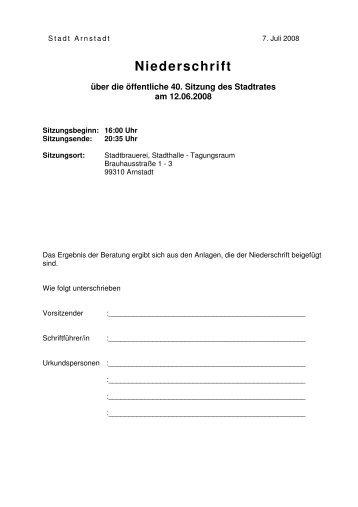 Niederschrift - Stadt Arnstadt