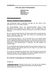 pH-Elektroden PH-ELEKTRODEN *Aufbewahrung ... - Artz Elektronik