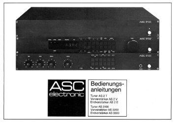 ASC Bedienungsanleitung AS 2T, AS 2V, AS 2E - ASC 6000
