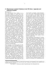 II. Dimensionen sozialer Probleme in der VR China ... - Asienhaus