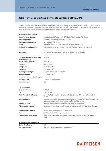Titre Raiffeisen porteur d'intérêts Euribor EUR 10/2015