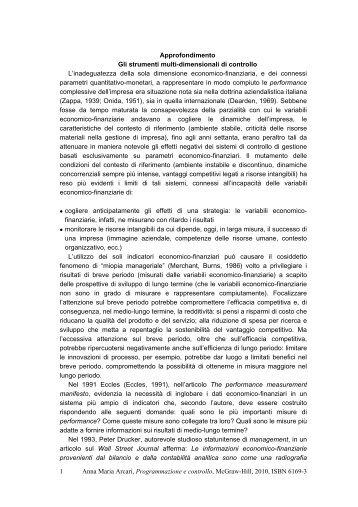 Box 5.2 Gli strumenti multi-dimensionali di controllo - Ateneonline