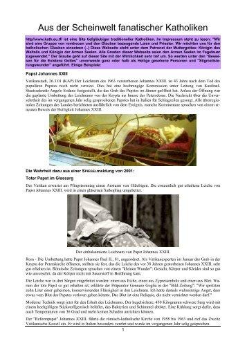 Aus der Scheinwelt fanatischer Katholiken - Atheisten-Info