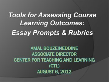 Tools for Assessing Course Learning Outcomes: Essay Prompts ...