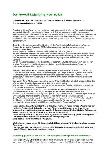 Interview mit Rabenclan e.V. (pdf) - Krokodil