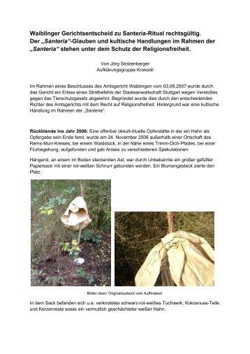 Waiblinger Gerichtsentscheid zu Santeria-Ritual ... - Krokodil