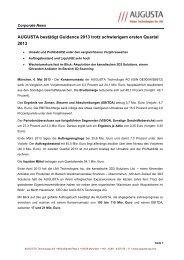 AUGUSTA bestätigt Guidance 2013 trotz schwierigem ... - Augusta AG
