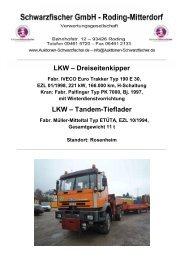 LKW – Dreiseitenkipper LKW – Tandem-Tieflader