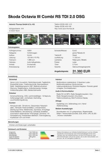 "Skoda Octavia II Combi ""RS"" 2.0 l TDI DSG 125 kW - bei Auto Thomas"