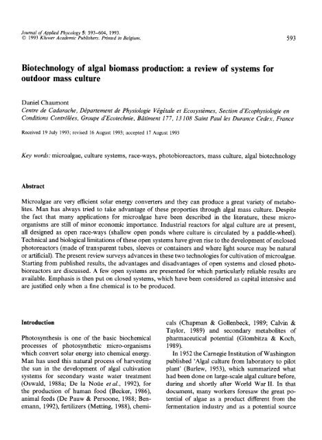 A Review Of Systems For Outdoor Mass Culture
